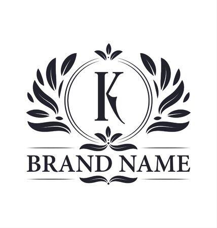 Alphabet K letter logo design. Vintage, luxurious & ornamental luxury letter K logo design template.