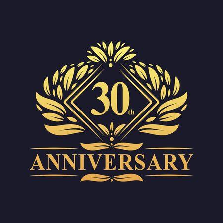 30 years Anniversary Logo, Luxury floral golden 30th anniversary logo. Ilustração