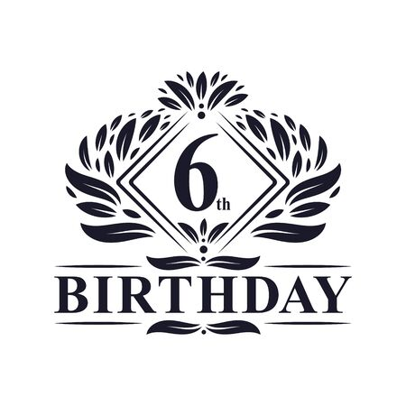 6 years Birthday Logo, Luxury 6th Birthday Celebration. Illusztráció