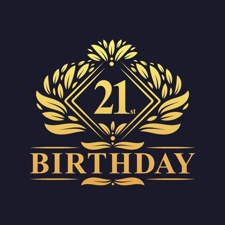 21 years Birthday Logo, Luxury Golden 21st Birthday Celebration.