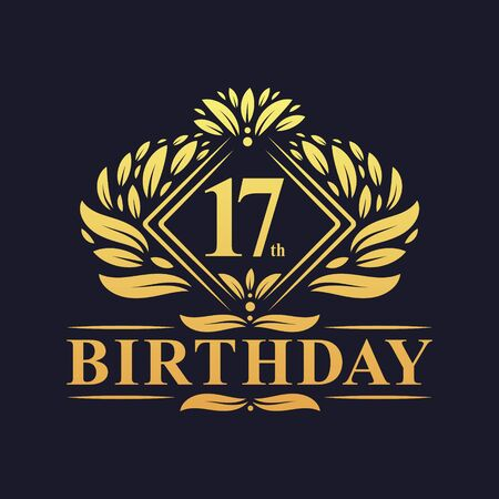 17 years Birthday Logo, Luxury Golden 17th Birthday Celebration. Illusztráció
