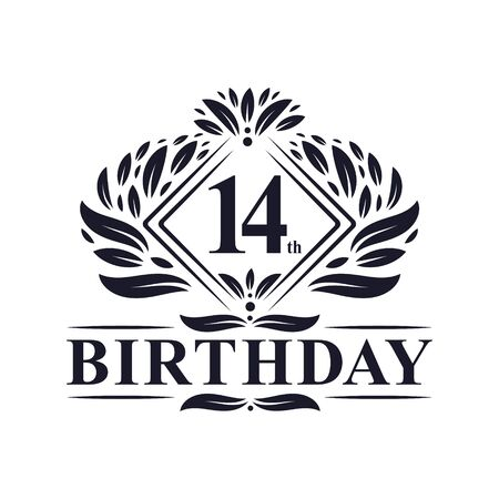 14 years Birthday Logo, Luxury 14th Birthday Celebration.