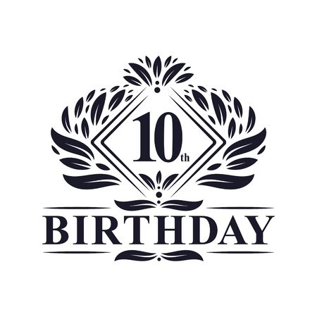 10 years Birthday Logo, Luxury 10th Birthday Celebration.