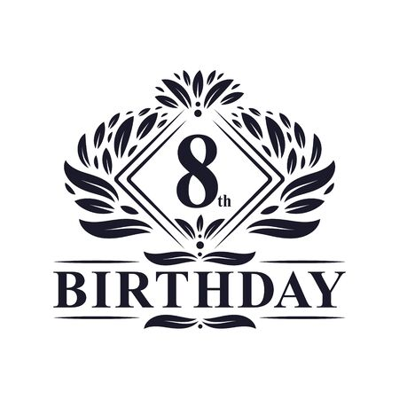 8 years Birthday Logo, Luxury 8th Birthday Celebration.