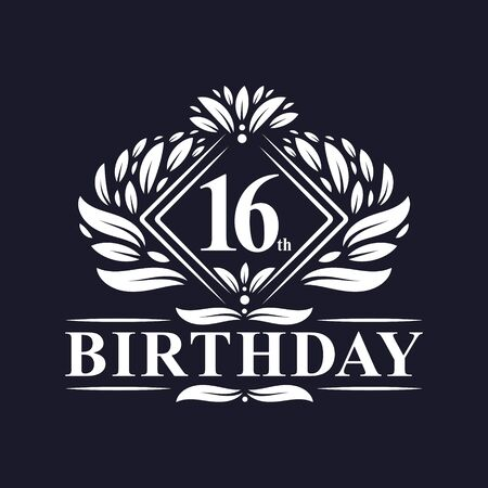 16 years Birthday Logo, Luxury 16th Birthday Celebration.