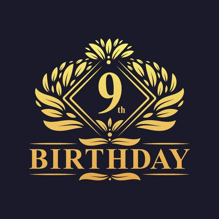 9 years Birthday Logo, Luxury Golden 9th Birthday Celebration.