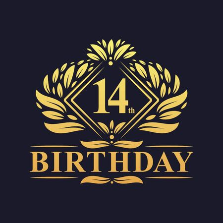 14 years Birthday Logo, Luxury Golden 14th Birthday Celebration.