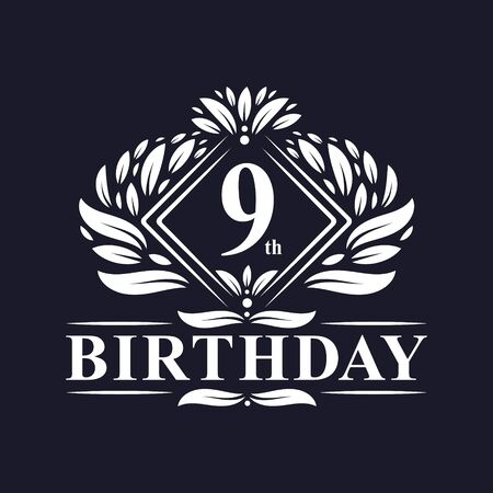 9 years Birthday Logo, Luxury 9th Birthday Celebration.