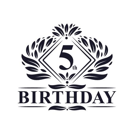 5 years Birthday Logo, Luxury 5th Birthday Celebration.