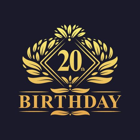 20 years Birthday Logo, Luxury Golden 20th Birthday Celebration. Illusztráció