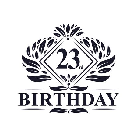 23 years Birthday Logo, Luxury 23rd Birthday Celebration.