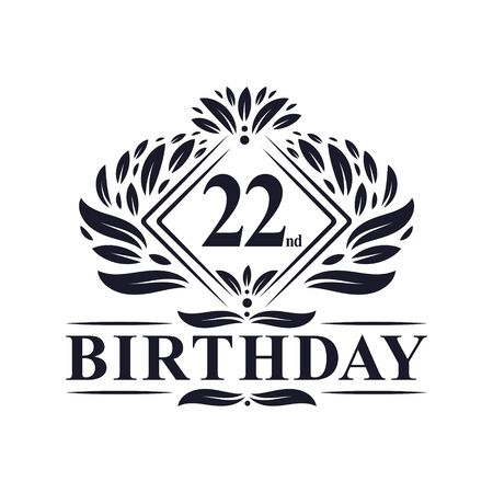 22 years Birthday Logo, Luxury 22nd Birthday Celebration. Illusztráció