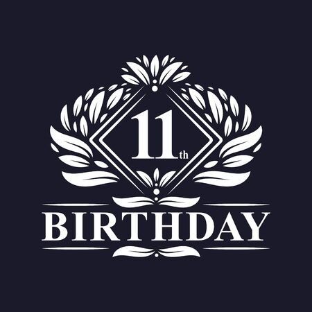 11 years Birthday Logo, Luxury 11th Birthday Celebration. Illusztráció