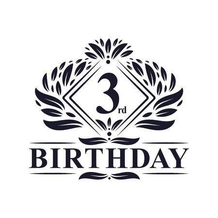3 years Birthday Logo, Luxury 3rd Birthday Celebration.