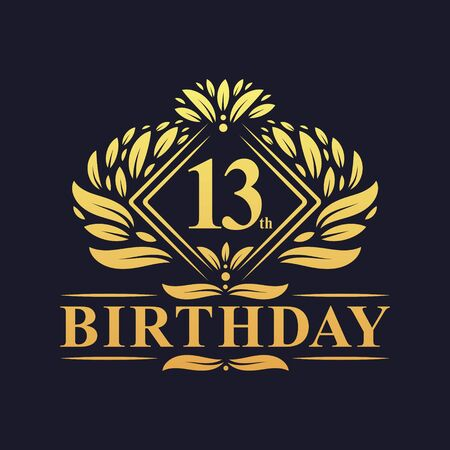 13 years Birthday Logo, Luxury Golden 13th Birthday Celebration.