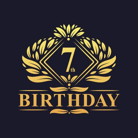 7 years Birthday Logo, Luxury Golden 7th Birthday Celebration.