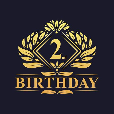 2 years Birthday Logo, Luxury Golden 2nd Birthday Celebration.