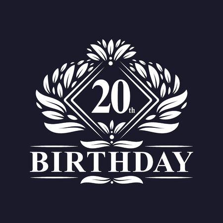 20 years Birthday Logo, Luxury 20th Birthday Celebration.