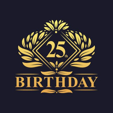 25 years Birthday Logo, Luxury Golden 25th Birthday Celebration.