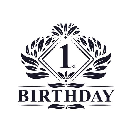 1 year Birthday Logo, Luxury 1st Birthday Celebration. Illusztráció