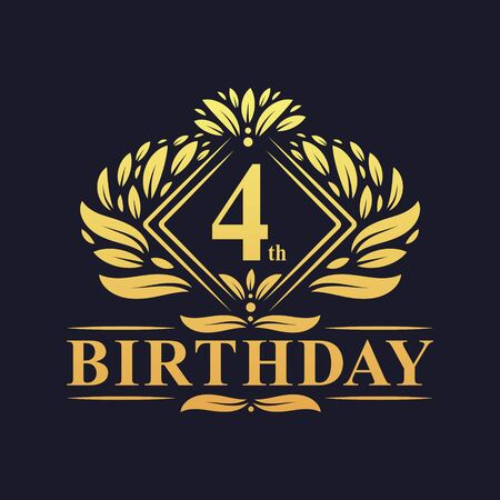 4 years Birthday Logo, Luxury Golden 4th Birthday Celebration. Illusztráció