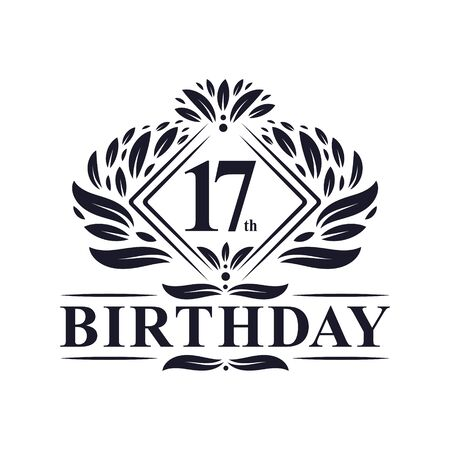 17 years Birthday Logo, Luxury 17th Birthday Celebration. Illusztráció