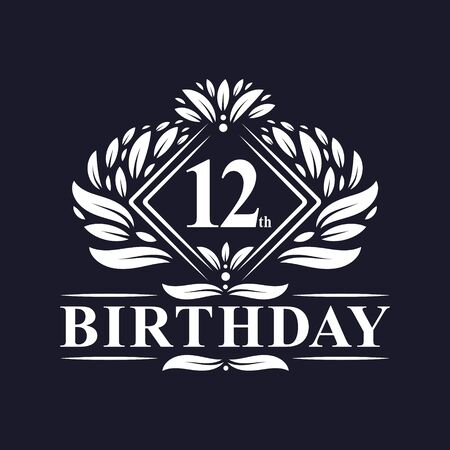12 years Birthday Logo, Luxury 12th Birthday Celebration. Illusztráció