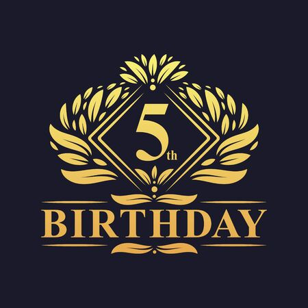 5 years Birthday Logo, Luxury Golden 5th Birthday Celebration.
