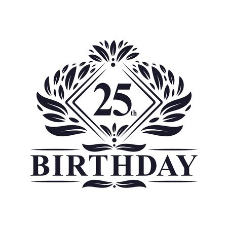 25 years Birthday Logo, Luxury 25th Birthday Celebration.