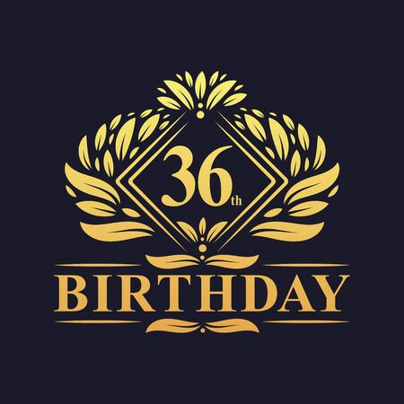 36 years Birthday Logo, Luxury Golden 36th Birthday Celebration. Illusztráció