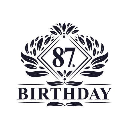 87 years Birthday Logo, Luxury 87th Birthday Celebration.