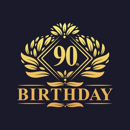 90 years Birthday Logo, Luxury Golden 90th Birthday Celebration.