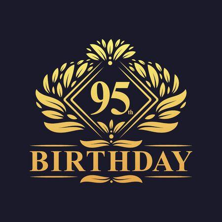 95 years Birthday Logo, Luxury Golden 95th Birthday Celebration. Çizim