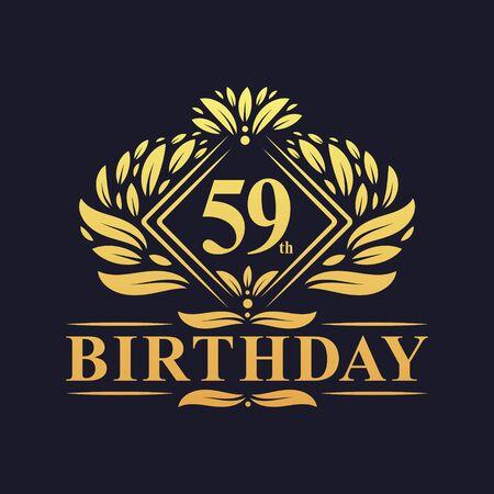 59 years Birthday Logo, Luxury Golden 59th Birthday Celebration. Çizim