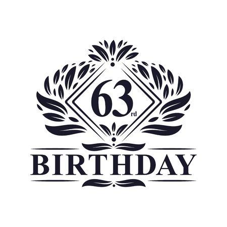 63 years Birthday Logo, Luxury 63rd Birthday Celebration.