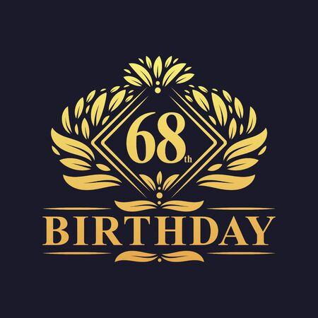 68 years Birthday Logo, Luxury Golden 68th Birthday Celebration.