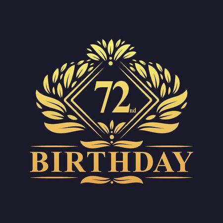 72 years Birthday Logo, Luxury Golden 72nd Birthday Celebration.