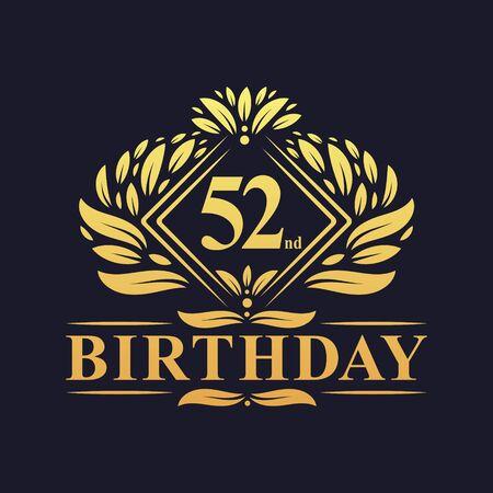 52 years Birthday Logo, Luxury Golden 52nd Birthday Celebration.