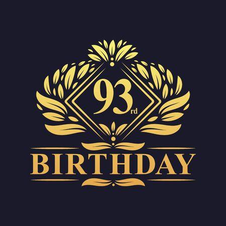 93 years Birthday Logo, Luxury Golden 93rd Birthday Celebration. Çizim
