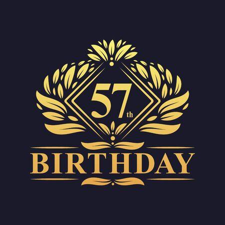 57 years Birthday Logo, Luxury Golden 57th Birthday Celebration. Çizim