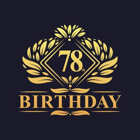 78 years Birthday Logo, Luxury Golden 68th Birthday Celebration.