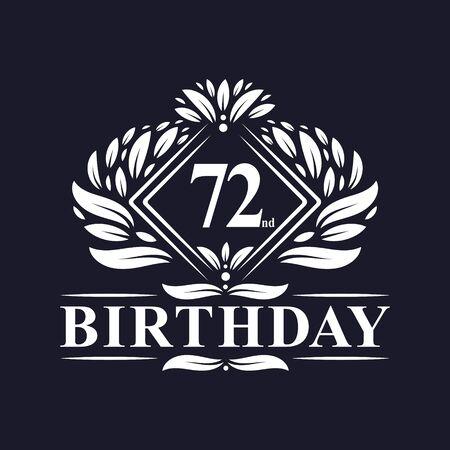 72 years Birthday Logo, Luxury 72nd Birthday Celebration.