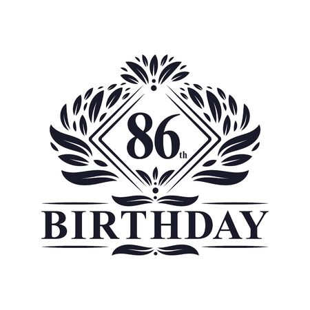86 years Birthday Logo, Luxury 86th Birthday Celebration.