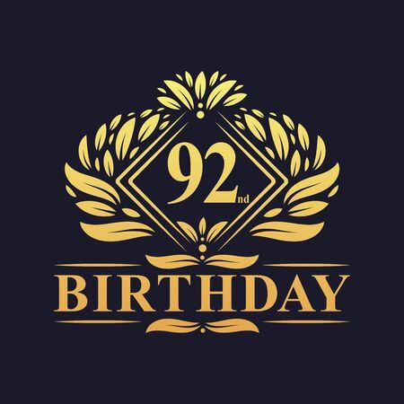 92 years Birthday Logo, Luxury Golden 92nd Birthday Celebration. Çizim