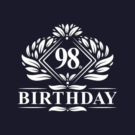 98 years Birthday Logo, Luxury 98th Birthday Celebration.