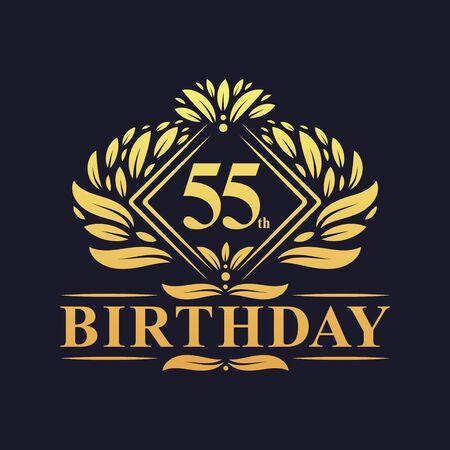 55 years Birthday Logo, Luxury Golden 55th Birthday Celebration.