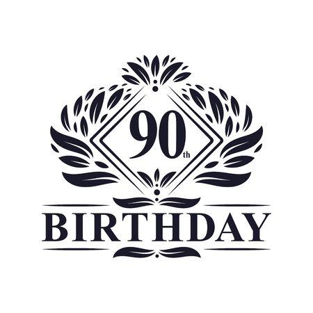 90 years Birthday Logo, Luxury 90th Birthday Celebration.