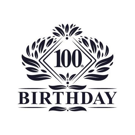 100 years Birthday Logo, Luxury 100th Birthday Celebration.