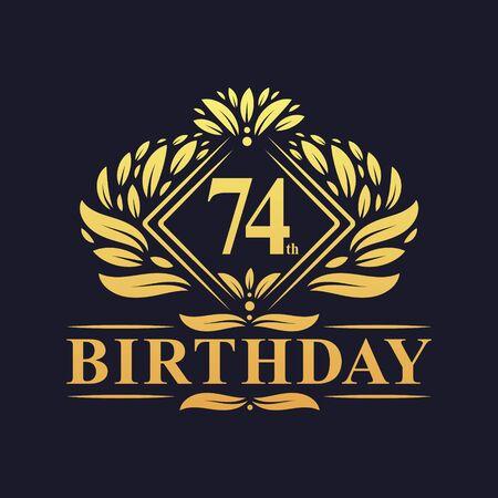 74 years Birthday Logo, Luxury Golden 74th Birthday Celebration. Çizim