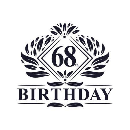 68 years Birthday Logo, Luxury 68th Birthday Celebration.